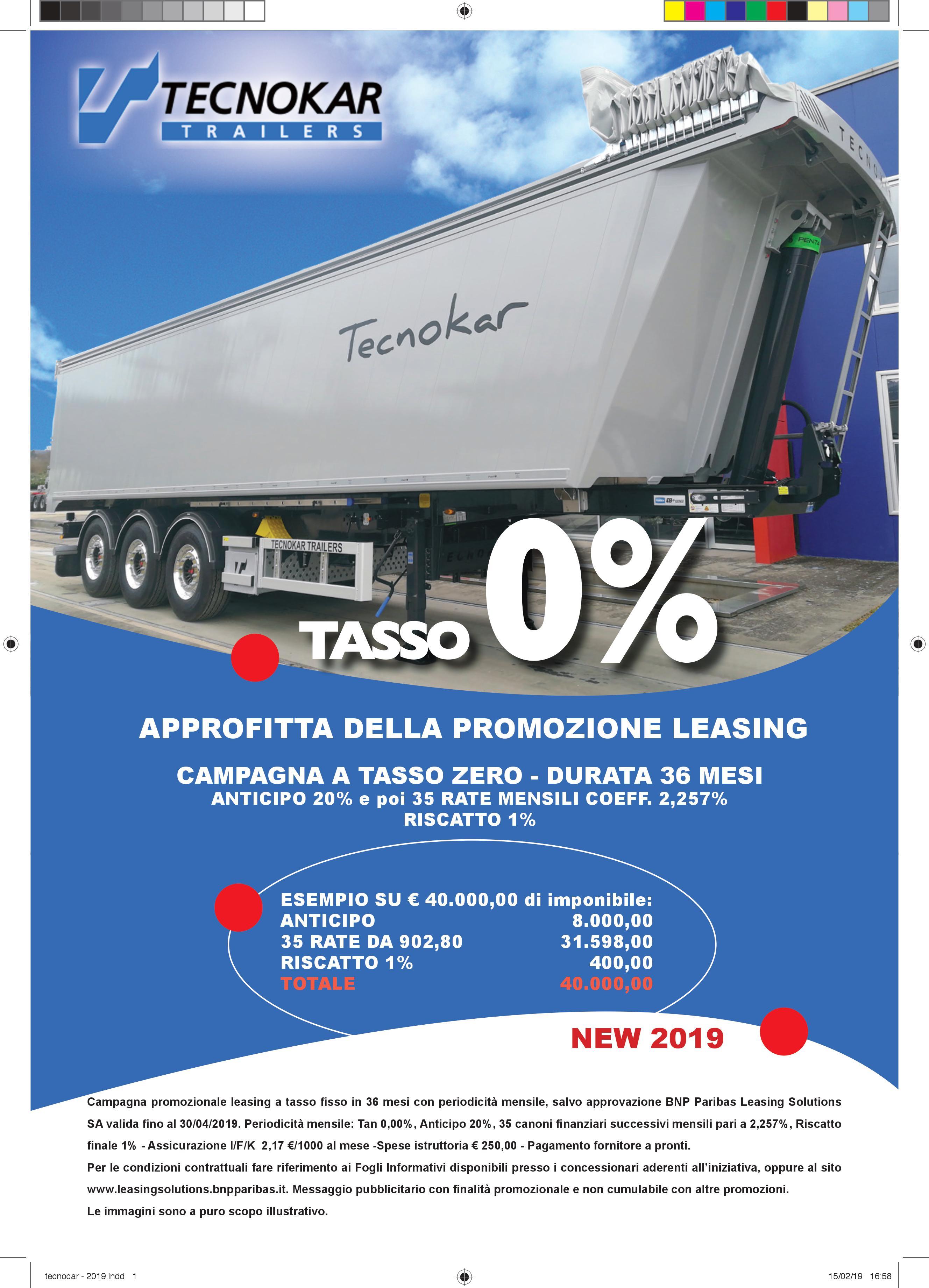 Promozione TASSO 0%Tecnokar Trailers
