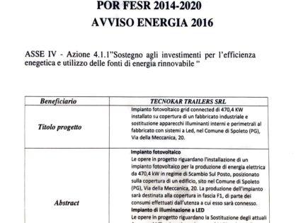 POR FESR 2014-2020 AVVISO ENERGIA 2016