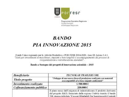 BANDO PIA INNOVAZIONE 2015
